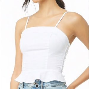 White Cami with Button Detailing - NWT